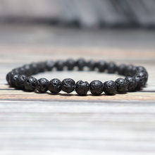Minimalist Natural Volcanic Lava Bracelet Stone Men 4/6/8/10/12mm Lava Beads Braslet Male Accessories Boyfriend Gift Pulseira(China)