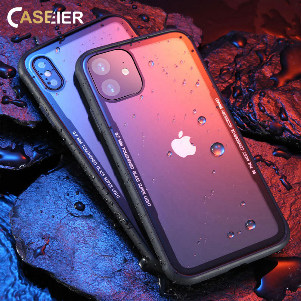 CASEIER Tempered Glass Phone Case For iPhone 11 Pro XS Max XR Cases For iPhone X XS Max XR 7 8 Plus Case Funda Cover Accessories image