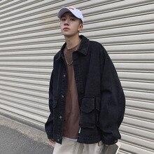 Denim Jacket Men Fashion Washed Solid Color Casual Large Pocket Tooling Man Streetwear Hip Hop Loose Bomber