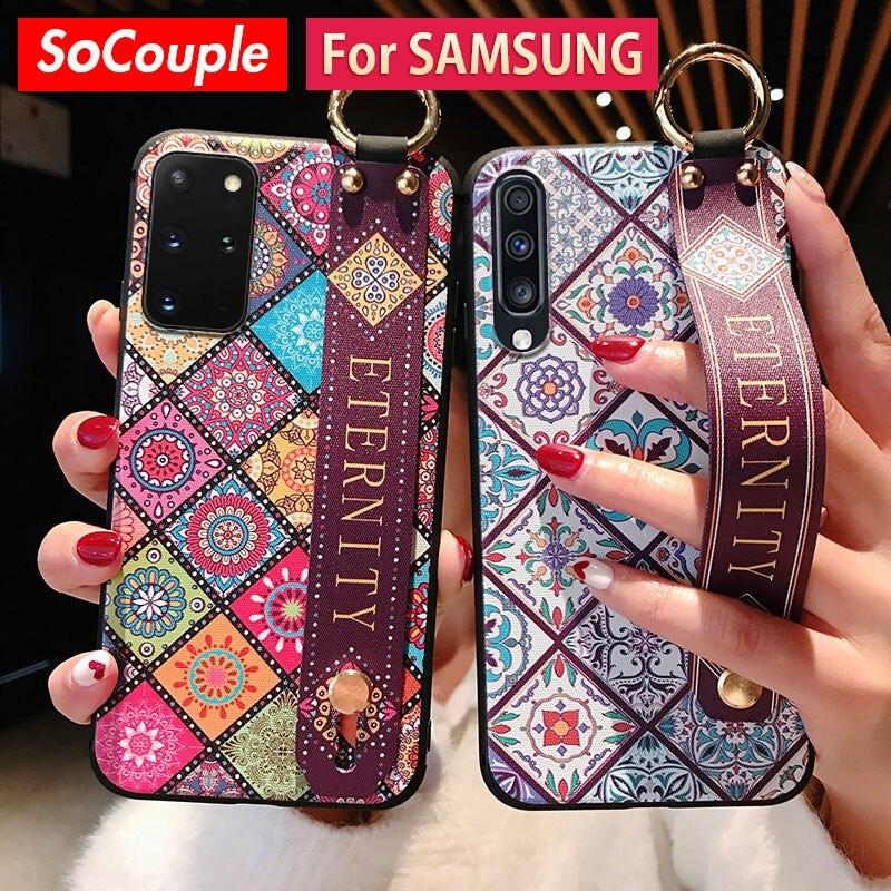 Case For Samsung Galaxy A50 A51 A70 A71 A30s A20 S8 S9 S10 S20 Plus Ultra Note 10 Plus Wrist Strap Phone Holder Case