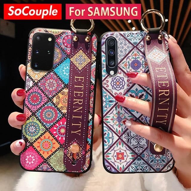 SoCouple מקרה לסמסונג גלקסי A50 A51 A70 A71 A30s A20 21s S8 S9 S10 הערה 10 בתוספת S20 FE בתוספת רצועת יד טלפון מחזיק מקרה