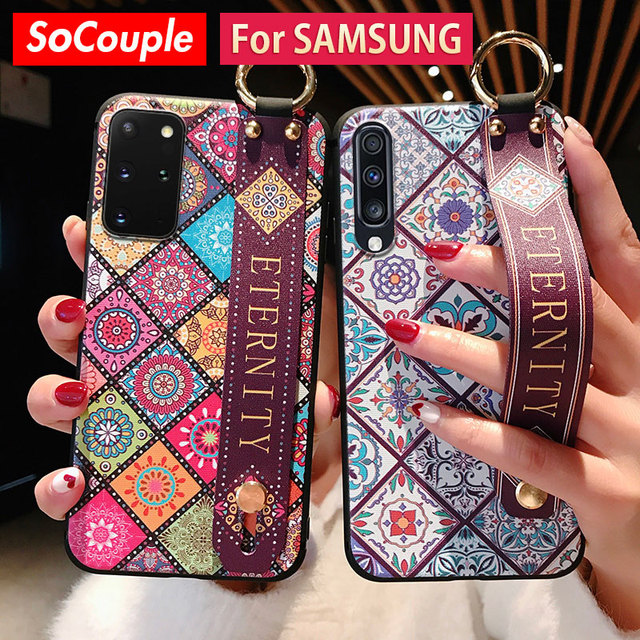 SoCouple Case For Samsung Galaxy A50 A51 A70 A71 A30s A20 21s S8 S9 S10 Note 10 plus S20 FE Plus Wrist Strap Phone Holder Case