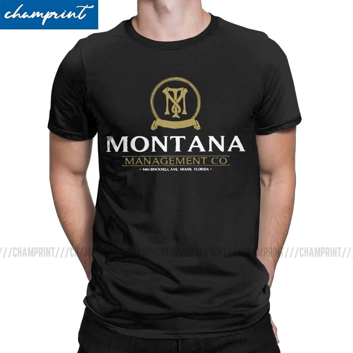 Men's T-Shirt Montana Management Company Vintage Tee Shirt Scarface Pacino Gangster Movie T Shirt Round Neck Tops Plus Size