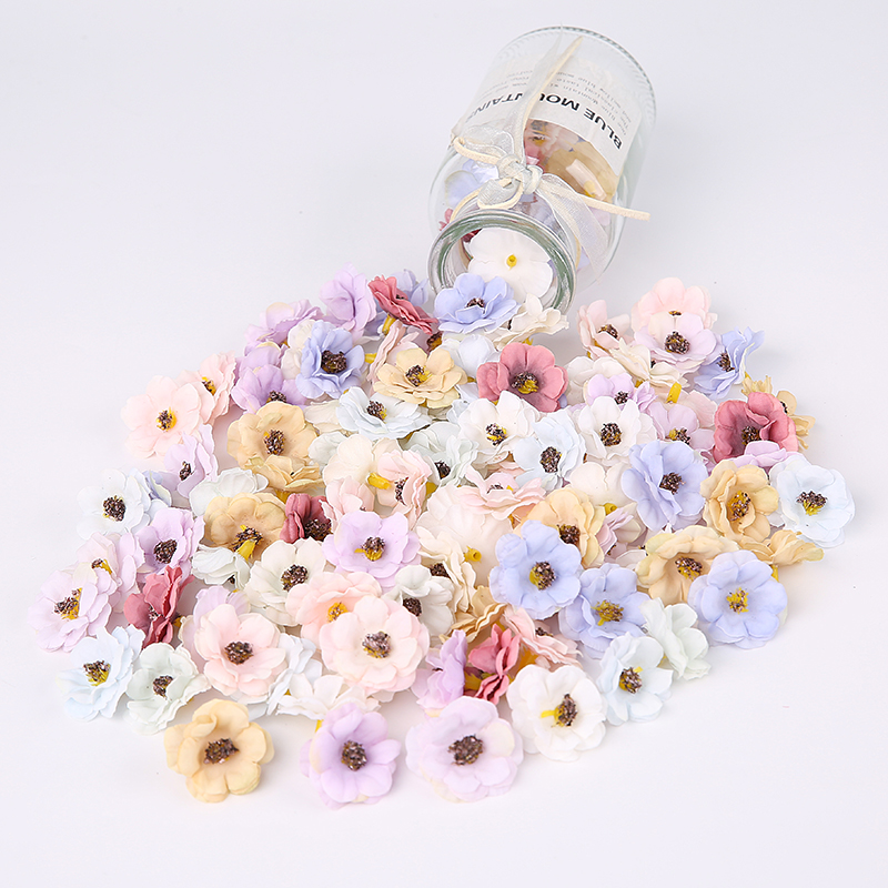 100 Pcs/3cm Multicolor Mini Daisy Silk Artificial Flower DIY Party Christmas Wreath Home Wedding Decoration Artificial Flower-1