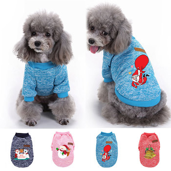 Dog Clothes Autumn Winter Warm Pet Clothing For Small Medium Dogs Vest Shirt Christmas New Year Puppy Dog Cat Costume Outfits image