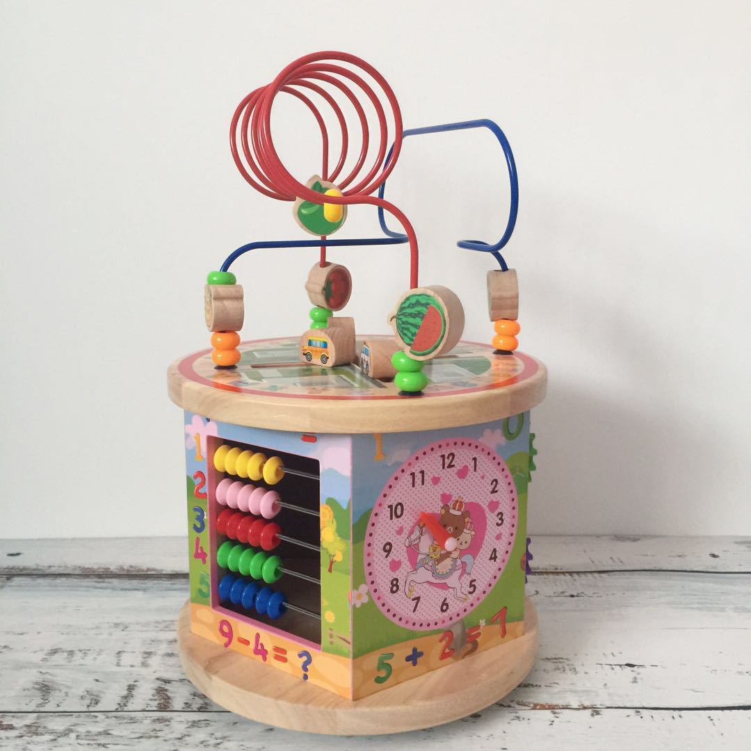 Wooden Children Early Childhood Educational Five Surface Large Bead-stringing Toy Treasure Chest GIRL'S And BOY'S Hand-Eye Coord