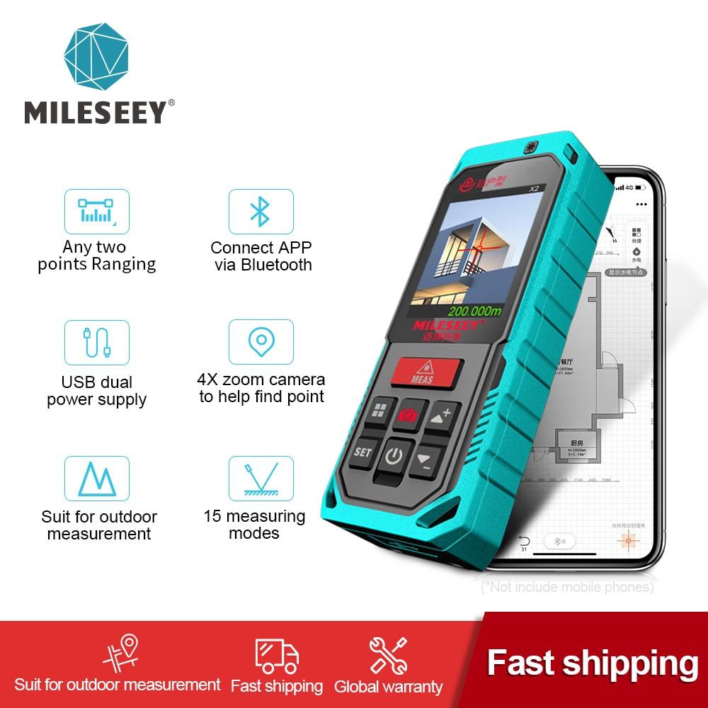 Mileseey наружный лазерный Distanc метр профессиональный лазерный измеритель Bluetooth дальномер 200 м Лазерная Лента с камерой