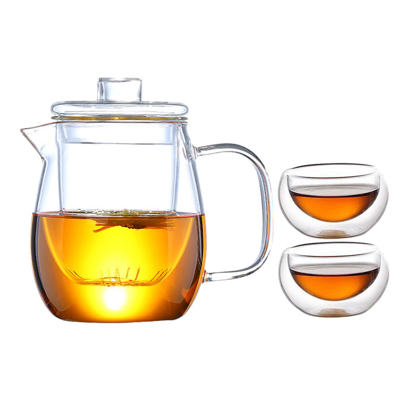 Heat Resistant Glass Tea Pot And Cup Set Glass Teapot With Filter Puer Tea Chinese Kung Fu Tea Set Flower Teapot Kettle mug|Teaware Sets| |  - title=