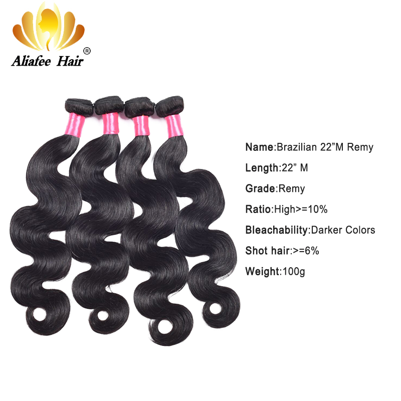 Aliafee Hair Brazilian Hair Weave Bundles #1b/#4/27/Bur Colored Body Wave 4 Bundles Deal 100% Human Hair Extension Remy Hair