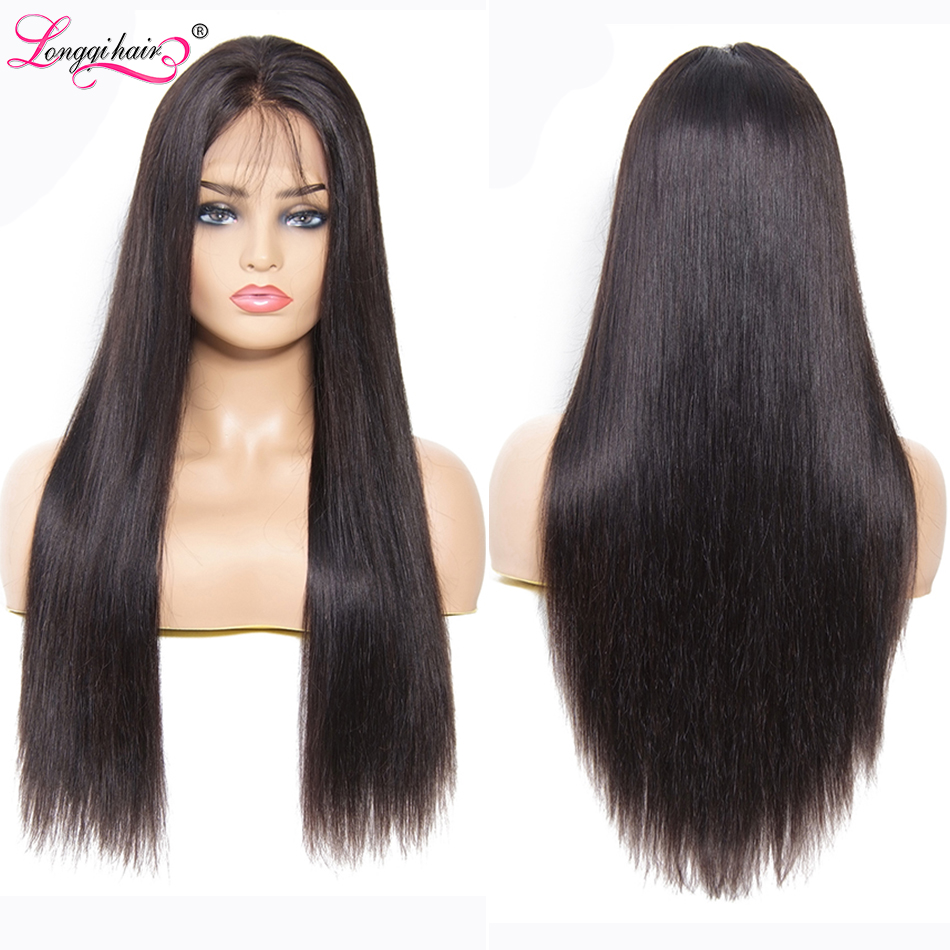 Longqi Straight Lace Front Wig Brazilian Remy 13X4 13X6 Lace Front Human Hair Wigs Natural Hair