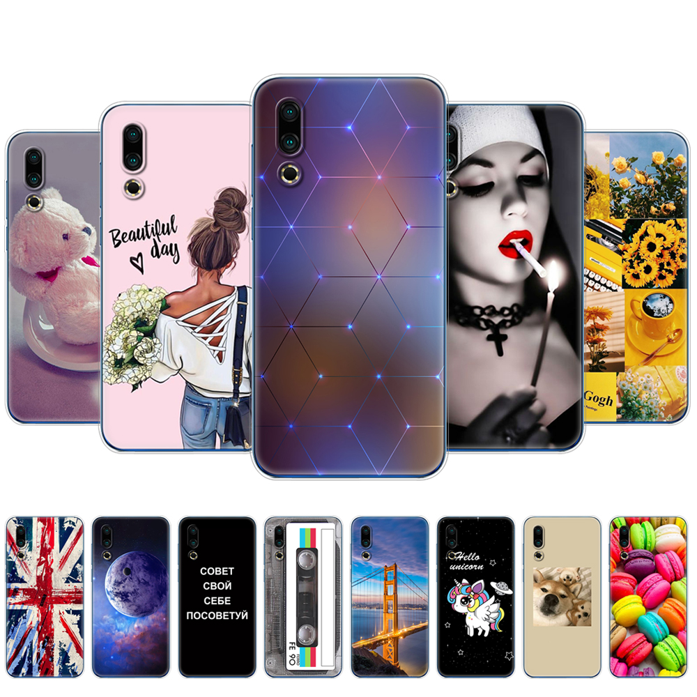 For <font><b>Meizu</b></font> 16S Case 6.2'' Painted Soft TPU Silicon Back Cover For <font><b>Meizu</b></font> 16s <font><b>16</b></font> S Phone Cases Coque For Meizu16S Protective Bumper image