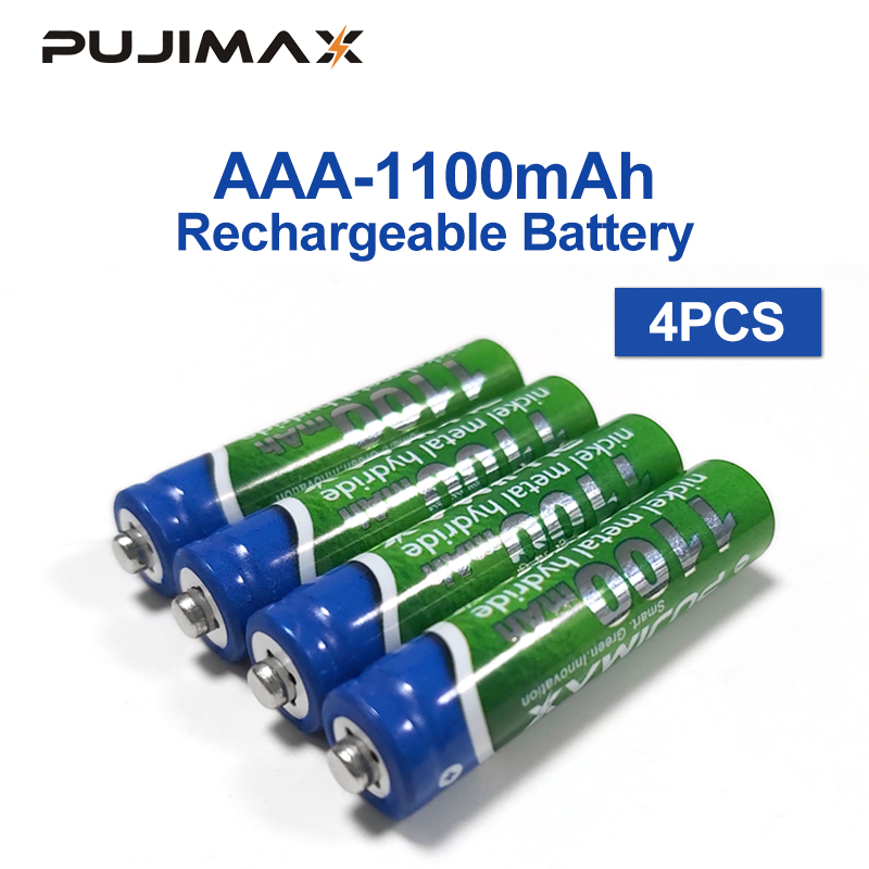 PUJIMAX 1100mAh AAA Battery 1.2V 4PCS Rechargeable Battery Pre-charged Recharge Ni Mh Rechargeable Battery For Camera Microphone