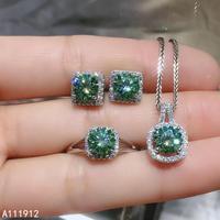 KJJEAXCMY fine jewelry natural Mosang Diamond 925 sterling silver women pendant necklace earrings ring set support test luxury