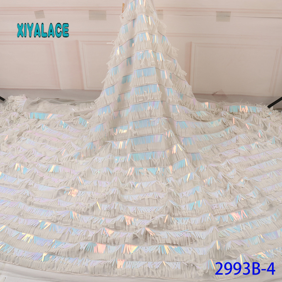 African Lace Fabric 3D Strip Sequins Lace Fabric Organza Nigerian Net Laces Fabric Bridal High Quality French Tulle YA2993B-4