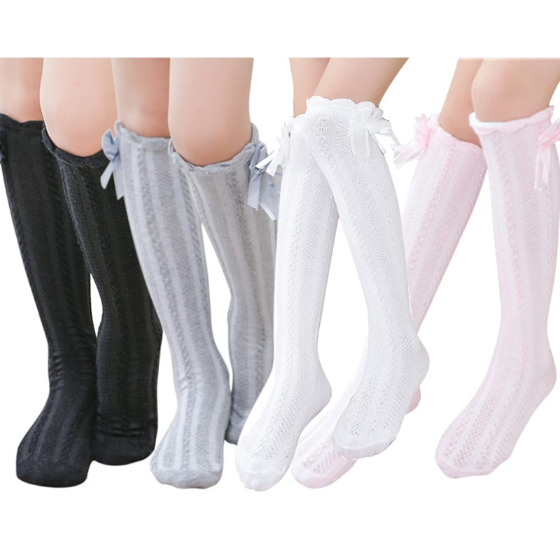 Knee Sock Girl High Cotton Sock Bow Decoration Warmer 3-12Y School Socks For Girls Toddlers Socks Kids Solid Color Socks