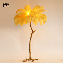Fss Feder Boden Lampen Gold Kupfer Led Lampe(China)