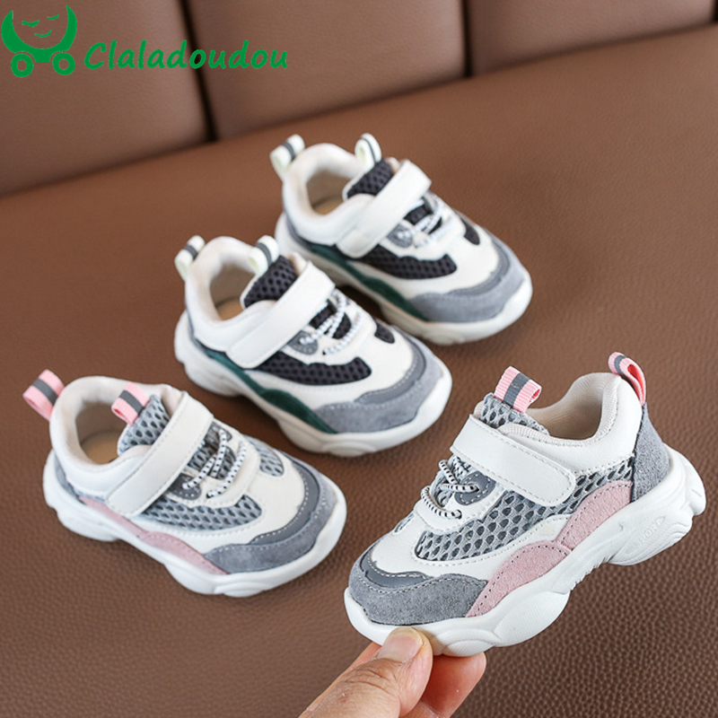 Claladoudou 12-14cm Brand Shoes Girl Children PU Leather+mesh Breathable Trainers Boys Soft 0-2Years Sport Girl Casual Shoes
