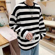 Męskie koszulki z długim rękawem jesień nowy nabytek paski proste męskie topy koszulki męska odzież wierzchnia wszystkie mecze podstawowe koreański Trendy Chic Ins BF