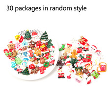 30pcs Christmas Series Cute Charms Resin Random Styles Cabochon Craft Decoration DIY Cameo Jewelry Accessory Cartoon Slime Beads(China)