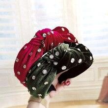 Women Headband Diamond Vintage Cross Knot Elastic Tie Velvet Hairband Hair Accessories for