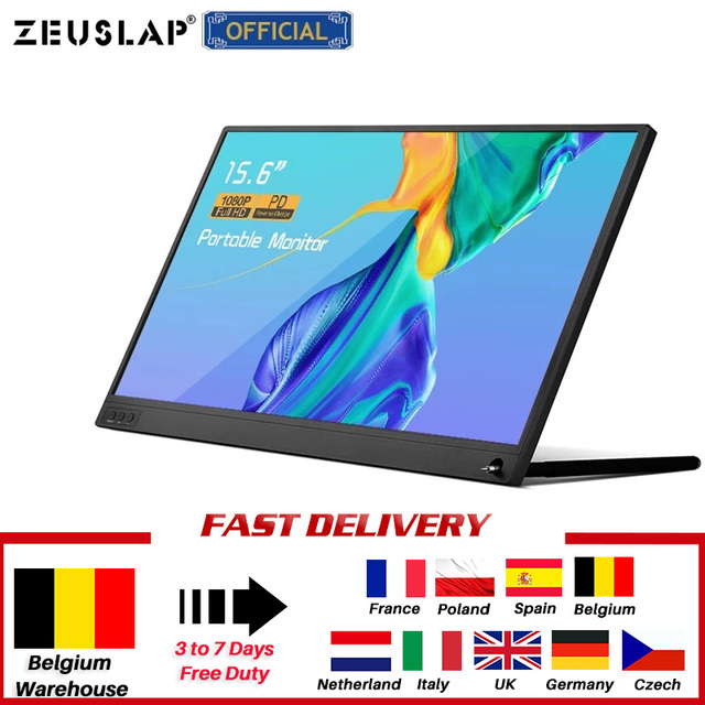 ZEUSLAP Thin Portable lcd hd monitor 15.6 usb type c hdmi for laptop,phone,xbox,switch and ps4 portable lcd gaming monitor 2