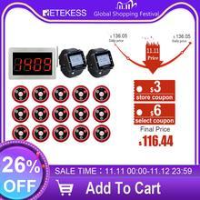Пейджер ресторанный Retekess 15 T117, кнопки передатчика вызова + 2 приемника часов + беспроводной приемник, система вызова, для бара, кафе