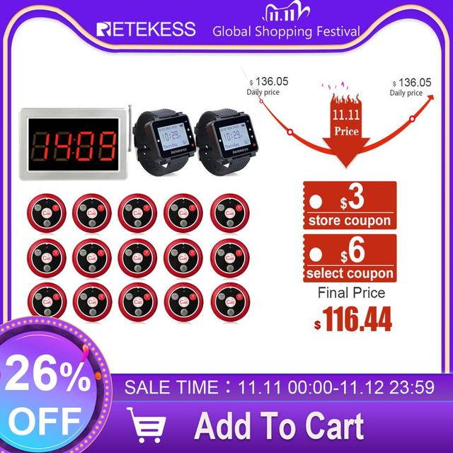 Retekess Restaurant Pager 15 T117 Call Transmitter Buttons+2 Watch Receiver+Receiver Host Wireless Calling System Bar Cafe Pager