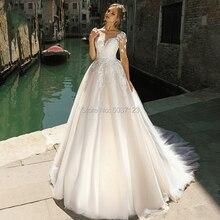 Long Sleeves Wedding Dresses A Line Scoop Lace Appliques Court Train Bridal Wedding Gown Vestido De Novias Longo Marriage