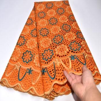 swiss voile lace in switzerland Most popular orange dress voile suisses africain coton nigeria lace fabric tissu dentelle mv226