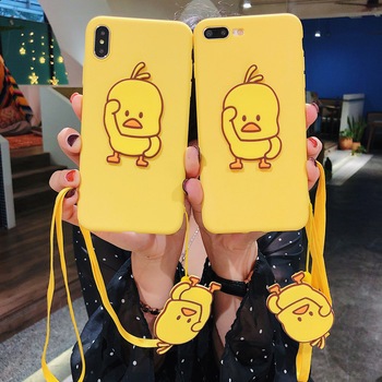 Matte Cases for iPhone 12 Pro Max 12 Mini 12Pro 11 Pro X XS Max XR Cover Fuda 3D Duck Apple iPhone 5 5S SE 6 6S 7 8 Plus Lanyard image