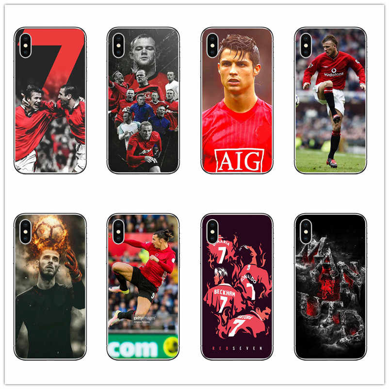 Red Devils 7 David Beckham Cristiano Ronaldo Zlatan Ibrahimovic Wayne Rooney  Manchester UK Phone Case for Iphone 5 6 7 8 X case