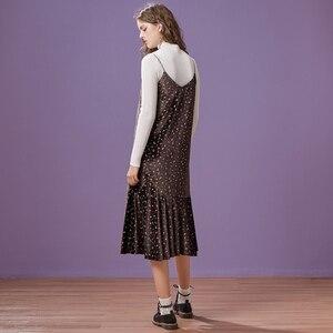 Image 3 - Metersbonwe 긴 니트 계층화 된 여성 스파게티 스트랩 스웨터 드레스 벨벳 빈티지 가을 겨울 드레스 여성 드레스