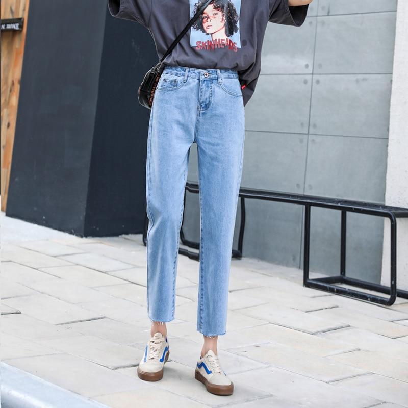 Vintage high waist jeans woman 2020 Slim fit blue mom boyfriend jeans for women denim pants female Ankle-length Pant streetwear