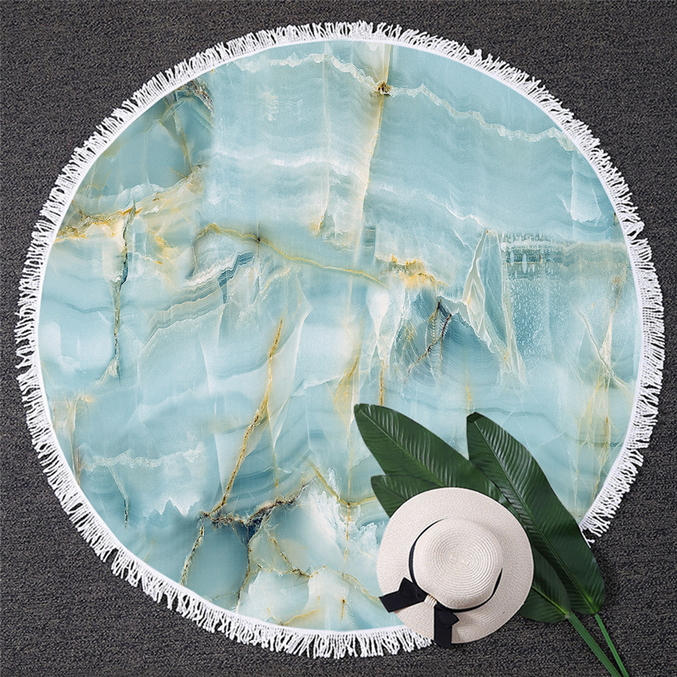 Image 2 - BlessLiving Marble Large Round Beach Towel for Adult Quicksand Microfiber Bath Towel Rock Stone Sunblock Blanket Cover Dropship-in Bath Towels from Home & Garden