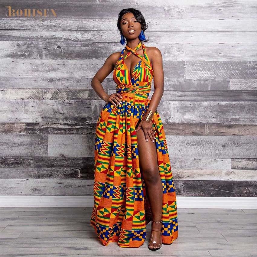 BOHISEN Dashiki African Clothes For Women Plus Size Skirt Sleeveless V-Neck African Traditional Print Female Maxi Dresses
