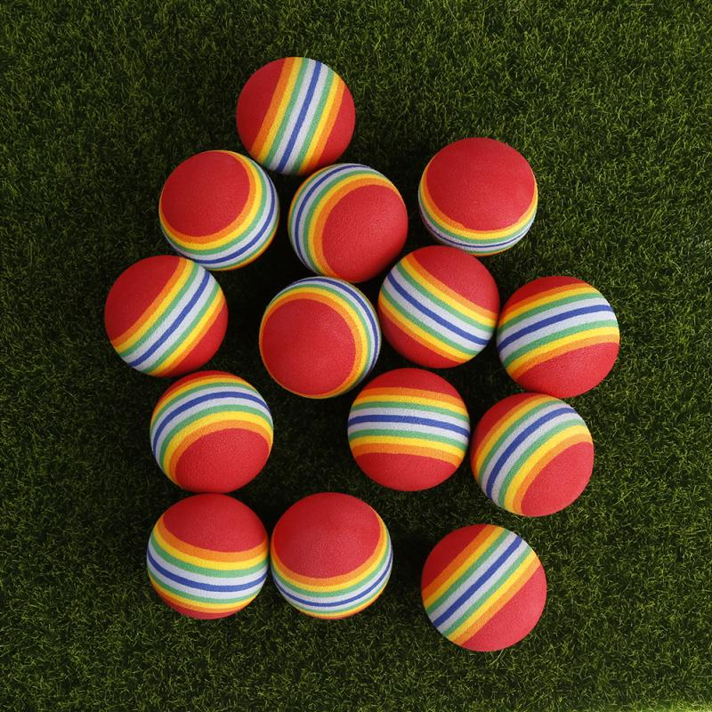 20pcs Golf 38mm EVA Foam Indoor Practice Golf Soft Rainbow Balls Golf Swing Training Balls Sponge Foam Golf Ball