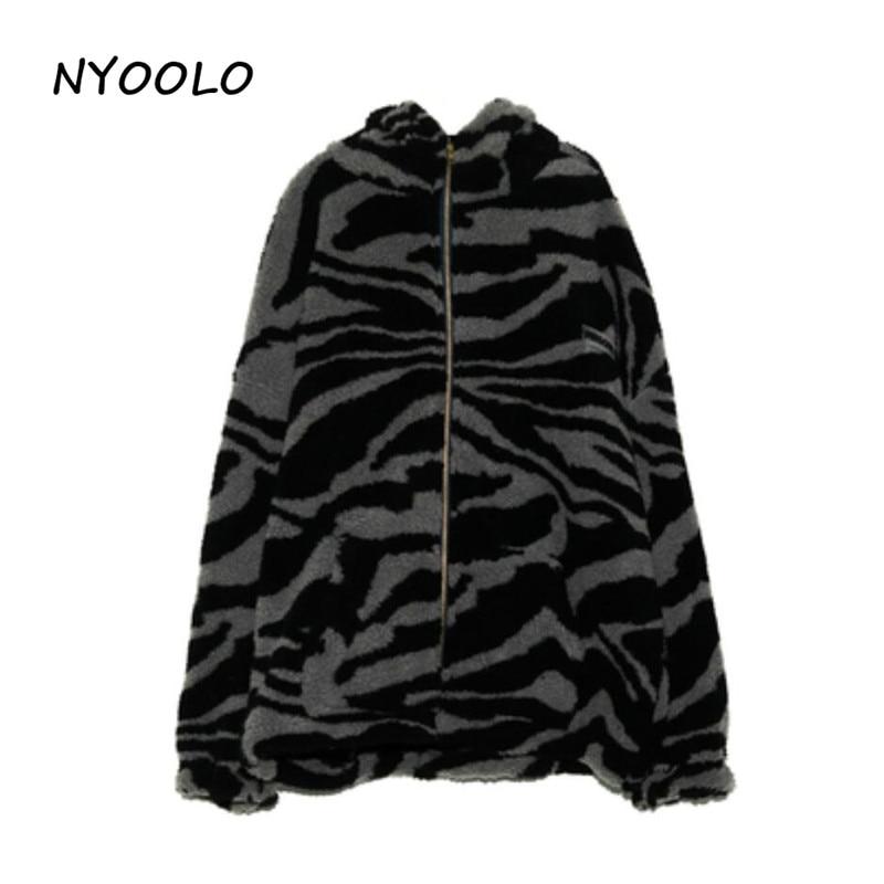 H1c4e13beb6a24c96bbab93ef3d17e61fG NYOOLO 2020 Winter Streetwear Zebra Pattern Lamb Woolen Thicken Warm Zipper Hooded Padded Coats Women Men Harajuku Loose Outwear