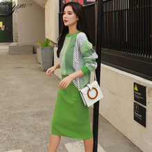 Woman Winter New Casual Knit Set Fashion Female Loose Sweater Pencil Skirts Suits for Autumn