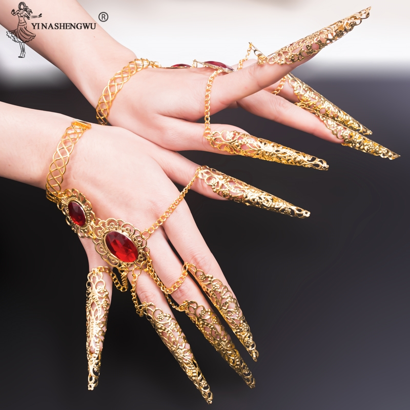 Bollywood Fingernail Accessories Belly Dance Thousands Hands India Dancewear Dance Bracelets Gold Indian Jewelry Bracelets New