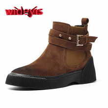 Shoes woman WIDEYIS cow anti-velvet matte leather boots retro round head thick w