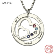personalised necklace 2 heart necklaces silver 925 for women birthstone and engraved name custom fanshion jewelry gift