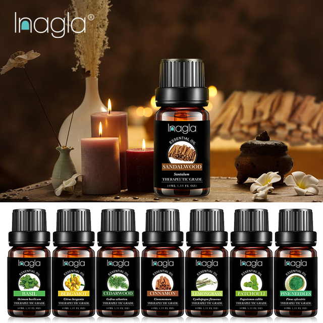 Inagla Sandalwood Essential Oil Pure Natural 10ML Pure Essential Oils Aromatherapy Diffusers Oil Healthy Calming Air Fresh Care