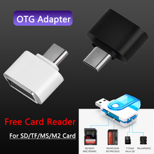 For Samsung Micro c type usb adapter USB-C OTG Converter for Huawei p30pro Mouse Keyboard USB DIsk flash Free sd Card Reader