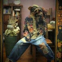 جوهنيتشر قمصان ريترو الترفيه النساء البلوزات طباعة زر عادية كم كامل ملابس حريمي 2020 جديد الخريف زهرة السيدات بلايز