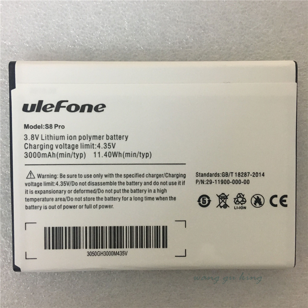 Mobile Phone Battery Ulefone S8 S8 Pro Battery 3000mAh 5.3inch MTK6737 MTK6580 Original Battery Mobile Accessories