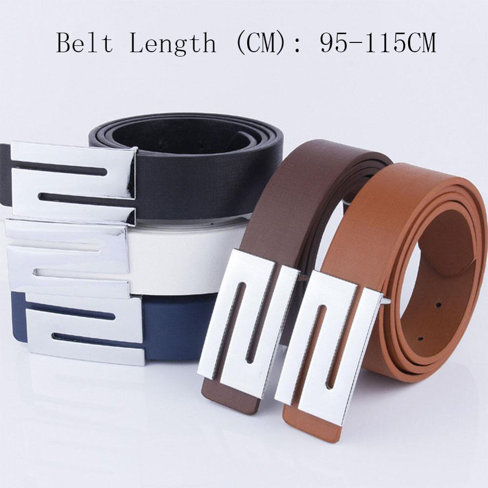 PU Leather Casual Men   Belt   Solid Color Waistband Fashion Metal Smooth Buckle   Belts   for Men Women