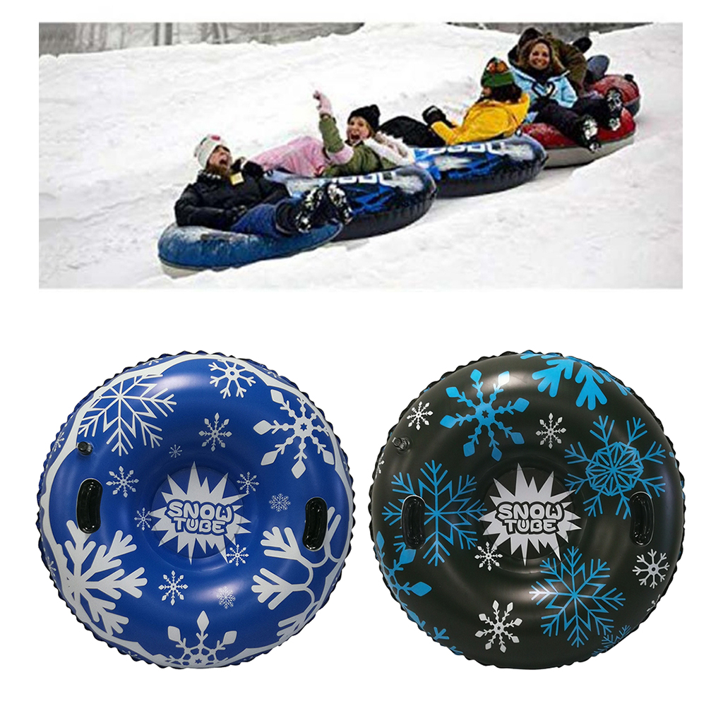 Sports Inflatable Snow Sled Heavy Duty Snow Tube Rider Racer Cold-Resistance Sledding Tube with Large Handles