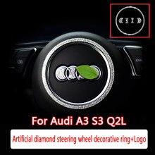 Para audi a3 s3 q2l modificação interior do carro artificial diamante decorativo anel de diamante logotipo alto grau decoração interior