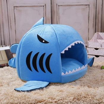 Pet Dog Cats Soft Sleeping Bed House Pad Shark Shape Warm Cushion Nests Kennel image