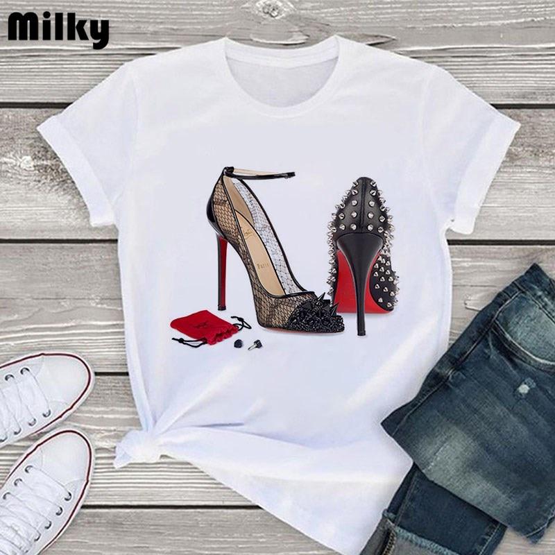 Fashion Women Tshirt High Heel Shoes White T Shirt Tops Print Tshirt Female 2020 Summer Short Sleeve Tee Shirt Femme Clothing
